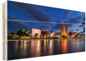 Het Australische Adelaide in Oceanië tijdens de nacht Vurenhout met planken 80x40 cm - Foto print op Hout (Wanddecoratie)