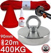 Vismagneet set - 400KG - 20m touw - Prikstok adapter - Beschermkap - Magneetvissen Schroefborgmiddel (10 ml)