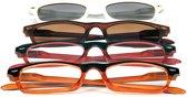 Leesbril en Zonneleesbril +2,00 – 4 stuks - Geel Rood Wit Bruin