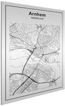 Stadskaart klein - Arnhem Aluminium wit 30x40 cm - Plattegrond