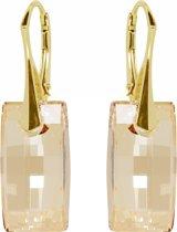 Oorbellen met Swarovski Elements Urban Crystal Golden Shadow - Goudkleurig Zilver
