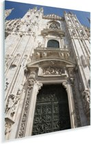 De ingang van de Kathedraal van Milaan Plexiglas 20x30 cm - klein - Foto print op Glas (Plexiglas wanddecoratie)