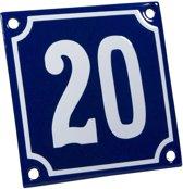 Emaille huisnummer blauw/wit nr. 20 10x10cm