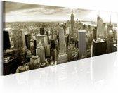 Schilderij - Manhattan New York , zwart wit