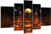 Glasschilderij Ball | Geel, Bruin, Zwart | 170x100cm 5Luik | Foto print op Glas |  F004091