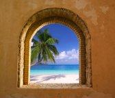 Tuinposter - Toscaans raam doorkijk 14