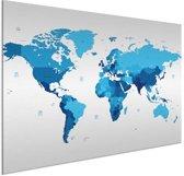 Wereldkaart Blauw aluminium groot muur decoratie 100x50 cm