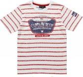Losan Jongens T-Shirt Gestreept Wit met Rood - Maat 164
