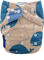 Wasbare pocketluier - Walvissen blauw