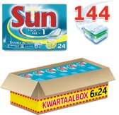 Sun All in 1 Citroen - 144 stuks - Vaatwastabletten - Kwartaalbox
