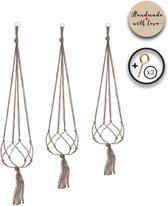Stijlvolle Plantenhanger - Set van 3 - Touw / Macramé - Plantenhouder - Hangplant - Planten Accessoires - Handmade Plantenhangers - Voor binnen en buiten - Stijlvol je bloempot ophangen