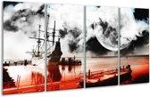 Glasschilderij Modern | Rood, Grijs, Zwart | 160x80cm 4Luik | Foto print op Glas |  F004424