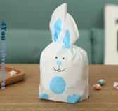 50x Uitdeelzakjes Wit - Blauw Konijn 13 x 22 cm - Plastic Traktatie Kado Zakjes - Snoepzakjes - Koekzakjes - Koekje - Cookie Bags - Pasen - Kinderverjaardag