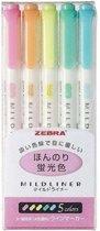 Mildliner Double Sided Tekstmarker Pastel Colours - Set van 5 verpakt in een Zipperbag