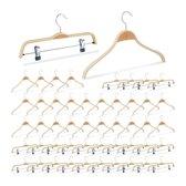 relaxdays 50er kledinghangers set - 2 modellen - klerenhangers - broekhangers – hout