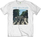 The Beatles Heren Tshirt -2XL- Abbey Road And Logo Wit
