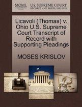 Licavoli (Thomas) V. Ohio U.S. Supreme Court Transcript of Record with Supporting Pleadings