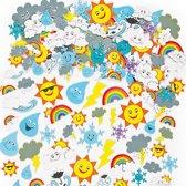 Foam stickers van het weer - zon regen wolk regenboog - knutselspullen voor kinderen - scrapbooking verfraaiing om te maken en versieren kaarten decoraties en knutselwerkjes (96 stuks)