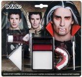Kit make-up Vampier (make-up, 1 spons, 1 penseel en 1 paar vampiertanden)