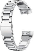 Metaal schakel bandje Zilver geschikt voor Fitbit Charge 3 - SmartphoneClip