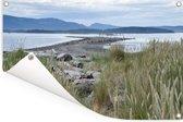Graslandschap in het Nationaal park Gulf Islands in Canada Tuinposter 60x40 cm - klein - Tuindoek / Buitencanvas / Schilderijen voor buiten (tuin decoratie)