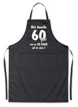 Schort - Het duurde 60 jaar - exclusieve keuken- of barbecueschort -zwart