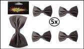 6x Luxe vlinderstrik satijn zwart 13 x 8.5 cm
