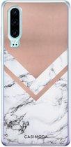 Huawei P30 siliconen telefoonhoesje - Rose gold marble