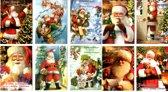 50 Luxe Kerst- en Nieuwjaarskaarten - 9,5x14cm  - 10 x 5 dubbele kaarten met enveloppen - serie Santa