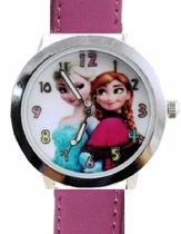 Frozen- Horloge- Kinder- Paars- Echt leer- Gratis Batterij