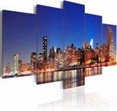 Schilderij - New York in close-up , blauw bruin , 5 luik