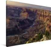 Zonsondergang met uitzicht op de Colorado rivier diep in de Grand Canyon Canvas 90x60 cm - Foto print op Canvas schilderij (Wanddecoratie woonkamer / slaapkamer)