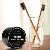 Natural Teeth Whitening met Bamboe tandenborstel – 3 Stuks - Activated Charcoal Tandenbleker 30g - Tanden bleek Poeder - Stralend witte tanden – Underdog Tech
