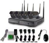 Wi-Fi Bullit Zwart Camerasysteem Beveiligingscamera set 4 Camera's Plug and Play + Incl 1000GB Harde schijf