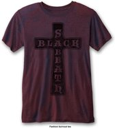 Black Sabbath - Vintage Cross heren unisex burn out T-shirt two tone rood/blauw - XL