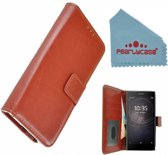 Pearlycase Bruin Fashion Wallet Bookcase Hoesje voor Sony Xperia L2