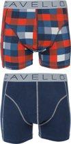 Cavello - 2-pack Boxershorts Blauw / Rood Geruit - S