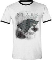 Game of Thrones - Stark Storm Ringer Men T-Shirt - Wit - Maat M