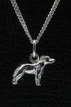 Zilveren Staffordshire bull terrier oren ongecoupeerd ketting hanger - klein