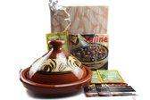 Tajine cadeaupakket / geschenkset ,3 pers tajine, kookboek, 3 zakjes kruiden