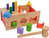 Houten hamerbank voor kinderen - kleurrijk hout + geometrische houten blokken - Houten speelgoed vanaf 2 jaar