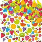 Foam stickers zomer fruit - knutselspullen voor kinderen - scrapbooking verfraaiing om te maken en versieren kaarten decoraties en knutselwerkjes (120 stuks)