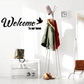 Muursticker Welcome To Our Home Met Vogel -  Zilver -  120 x 38 cm  - Muursticker4Sale