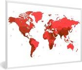 Foto in lijst - Rode wereldkaart op een witte achtergrond fotolijst wit 60x40 cm - Poster in lijst (Wanddecoratie woonkamer / slaapkamer)