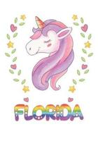 Florida: Florida Notebook Journal 6x9 Personalized Gift For Florida Unicorn Rainbow Colors Lined Paper