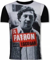 Local Fanatic El Patron Escobar - Digital Rhinestone T-shirt - Zwart - Maten: S