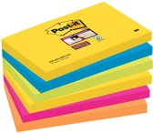 Post-it® Super Sticky Notes, Kleurenset Rio, Neon geel, Mediterraan blauw, Neon Groen, Fuchsia, Neon oranje , 76mm x 127 mm, 6 blokken