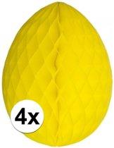 4x Decoratie paasei geel 10 cm - Paasversiering / Paasdecoratie