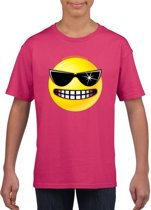 Smiley/ emoticon t-shirt stoer roze kinderen M (134-140)
