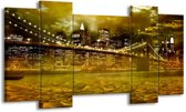 Canvas schilderij Brug | Geel, Groen, Grijs | 120x65 5Luik